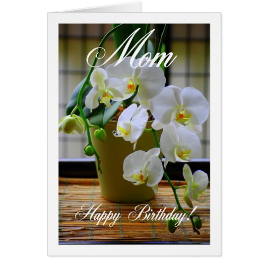 Mum, Happy Birthday, White Orchids Card