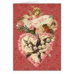 Mum, Happy Valentine's Day, vintage angel, roses Greeting Card