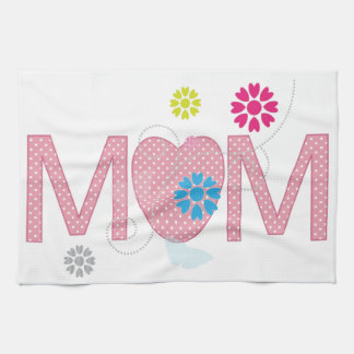 Mum Hearts And Flowers Tea Towel