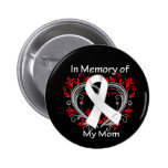 Mum - In Memory Lung Cancer Heart 6 Cm Round Badge