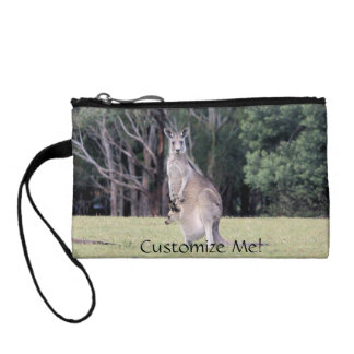 Mum Kangaroo with Baby Joey in Her Pouch Coin Wallet
