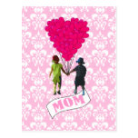 Mum, kids with heart shaped balloons postcards