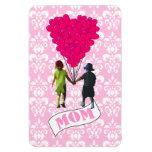 Mum, kids with heart shaped balloons rectangular magnets