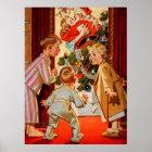 Mum Kisses Santa Claus Poster