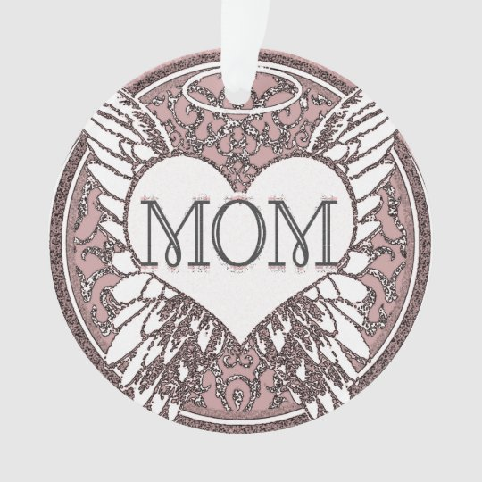 Mum Memorial with Heart and Angel Wings Ornament
