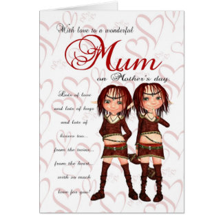 Mum Mother s Day Card From Twins - Two Cute Elves