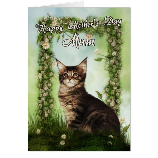 Mum Mother's Day Card With Cute Cat