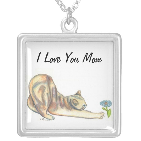 Mum Necklace, Cat Lovers Art Silver Plated Necklace