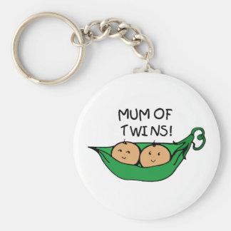 Mum of Twin Pod Basic Round Button Key Ring