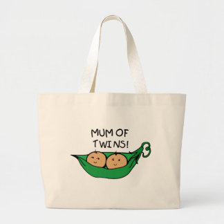 Mum of Twin Pod Large Tote Bag