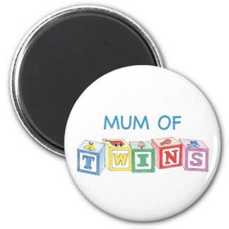 Mum of Twins Blocks 6 Cm Round Magnet