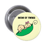 Mum of Twins-Peas in a Pod Tshirts and Gifts Button
