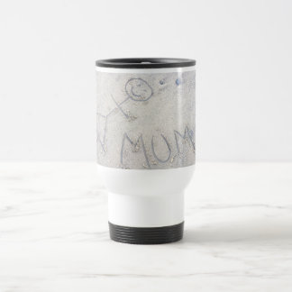 Mum on the beach. Stick figure drawing Travel Mug