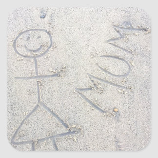 Mum on the sand happy beach drawing square sticker