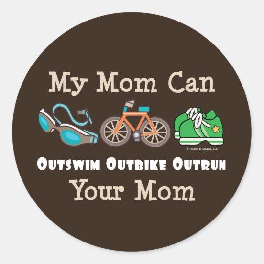 Mum Outswim Outbike Outrun Triathlon Stickers