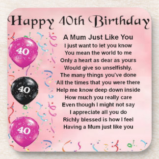 Mum Poem -  40th Birthday Coaster
