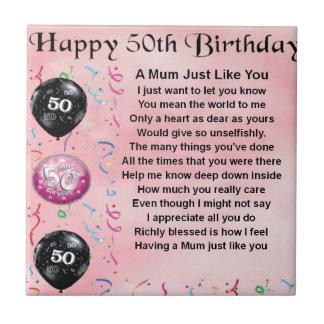 Mum Poem - 50th Birthday Tile