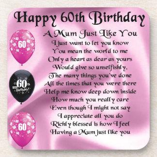 Mum poem  - 60th Birthday Coaster