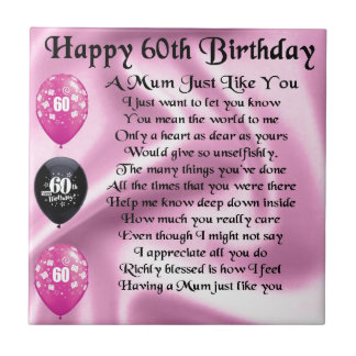 Mum poem  - 60th Birthday Tile