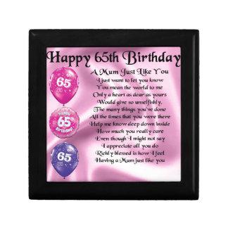Mum Poem  -  65th Birthday Small Square Gift Box