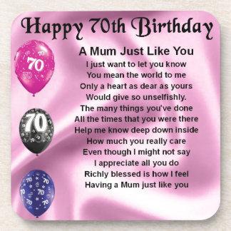Mum Poem  -  70th Birthday Coaster