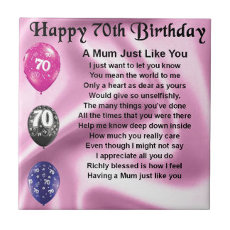 Mum Poem  -  70th Birthday Tile