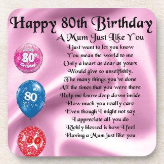 Mum Poem - 80th Birthday Coaster