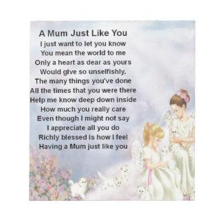Mum Poem  - Angels & Kittens Design Notepad