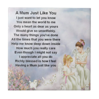 Mum Poem  - Angels & Kittens Design Tile