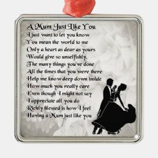 Mum Poem  -  Ballroom Dancers Silver-Colored Square Decoration