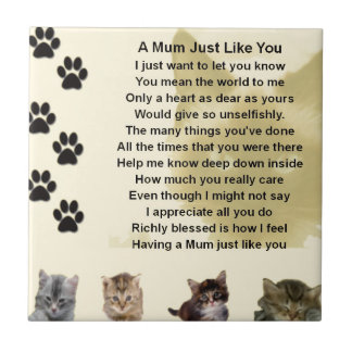 Mum poem  -  Cats Design Tile