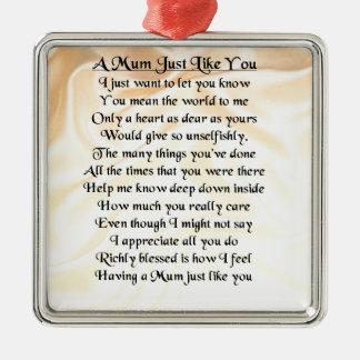 Mum Poem  -  Cream Silk Design Silver-Colored Square Decoration