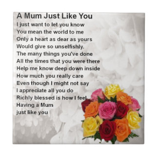 Mum Poem  -  Flowers  Design Tile