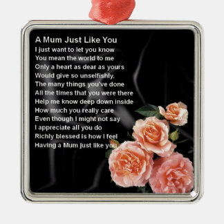 Mum Poem - Flowers on Black Silk Silver-Colored Square Decoration