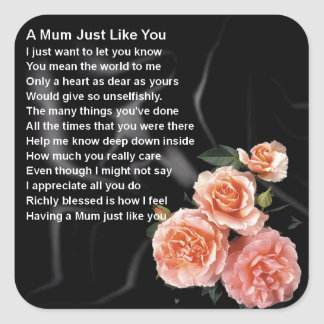 Mum Poem - Flowers on Black Silk Square Sticker