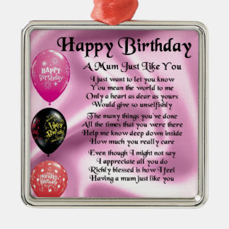 Mum Poem  -  Happy Birthday Christmas Ornament
