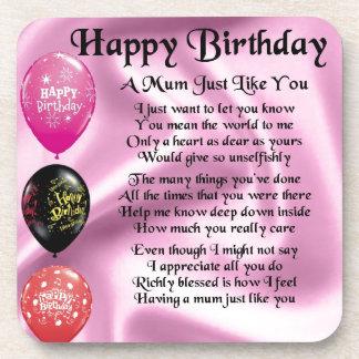 Mum Poem  -  Happy Birthday Coaster