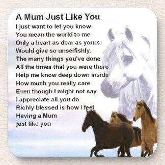 Mum Poem  -  Horses Design Drink Coasters