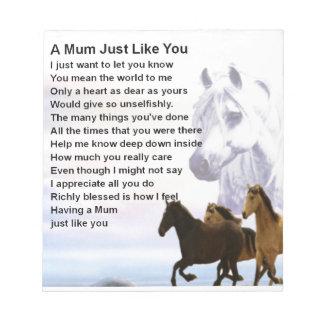 Mum Poem  -  Horses Design Notepads