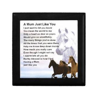 Mum Poem  -  Horses Design Small Square Gift Box