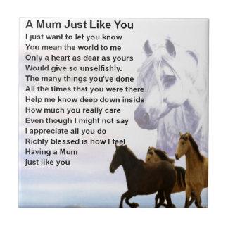 Mum Poem  -  Horses Design Small Square Tile