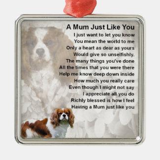 Mum Poem - King Charles Spaniel Silver-Colored Square Decoration