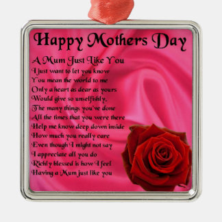 Mum poem - Mothers Day - Pink silk & Rose Silver-Colored Square Decoration