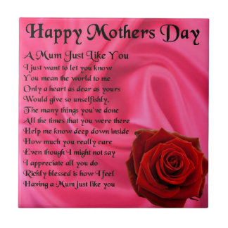 Mum poem - Mothers Day - Pink silk & Rose Tile