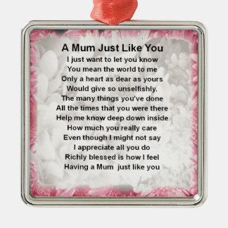 Mum Poem - Pink Floral Design Christmas Ornament