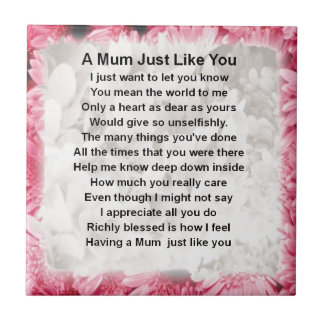Mum Poem - Pink Floral Design Tile
