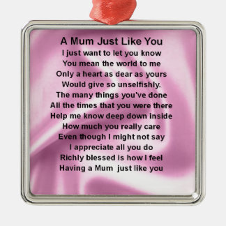 Mum Poem - Pink Silk Silver-Colored Square Decoration