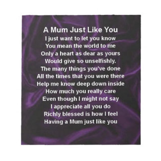 Mum Poem - Purple Silk Notepad