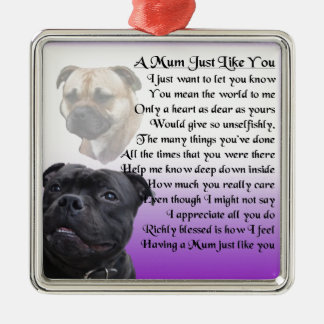 Mum Poem - Rottweiler Design Silver-Colored Square Decoration