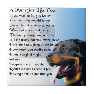 Mum Poem - Rottweiler Design Tile
